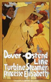 Vintage shipping poster, Dover - Ostend line